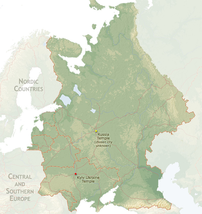Eastern Europe Map Region | ChurchofJesusChristTemples.org