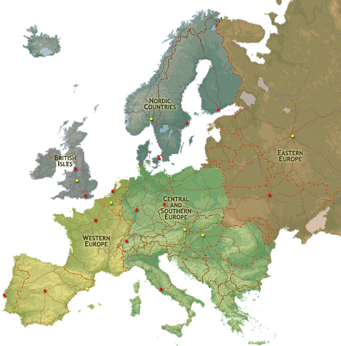 Europe Map Region | ChurchofJesusChristTemples.org