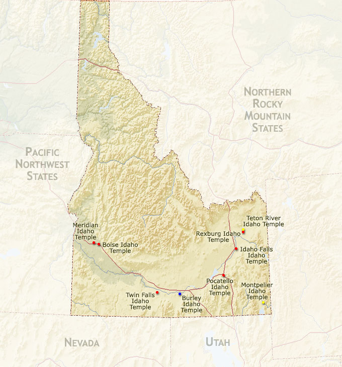 Regional map for the Boise Idaho Temple ...