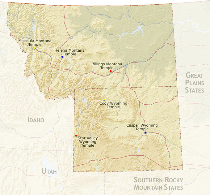 Northern Rocky Mountain States Map Region ...