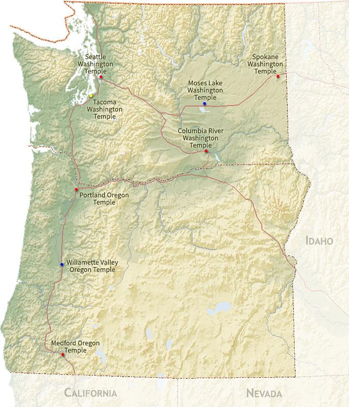 Pacific Northwest States Map Region | ChurchofJesusChristTemples.org