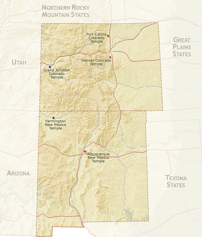 Southern Rocky Mountain States Map Region