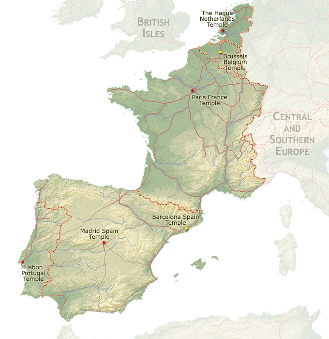 Regional Map Of Spain.Regional Map For The Madrid Spain Temple
